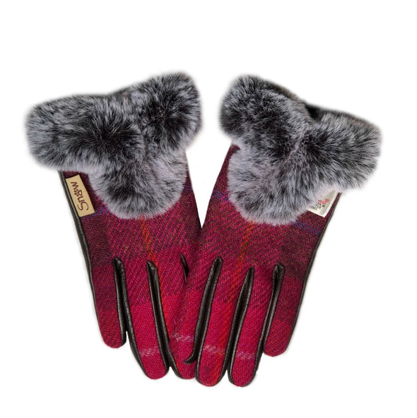 Women's Harris Tweed Gloves with Faux Fur