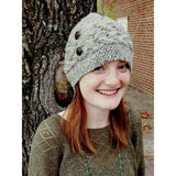 handmade 100% Merino wool cable knit hat for women in grey