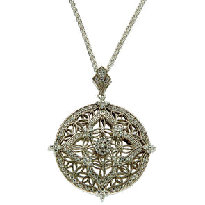 light side of reversible silver & CZ Celtic necklace