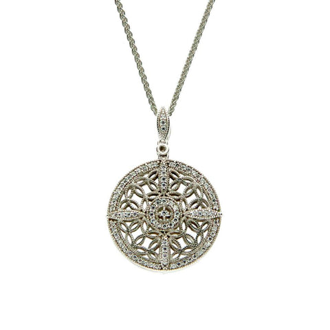 light side of reversible silver & CZ Celtic necklace, smaller version