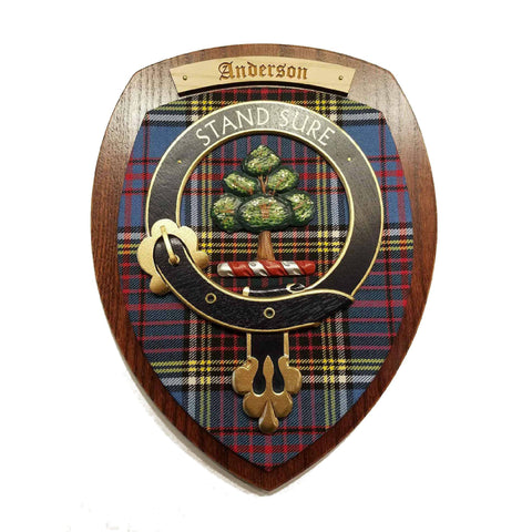 wooden wall plaque with Anderson family crest & tartan