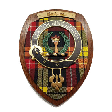 wooden wall plaque with Buchanan family crest & tartan