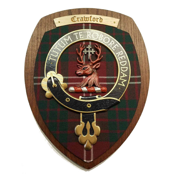 wooden wall plaque with Crawford family crest & tartan