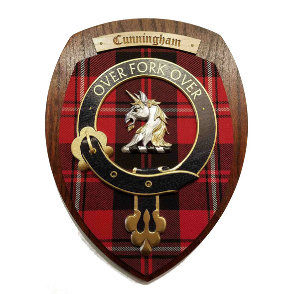 wooden wall plaque with Cunningham family crest & tartan