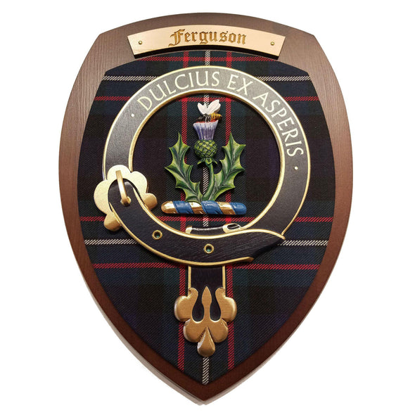 wooden wall plaque with Ferguson family crest & tartan