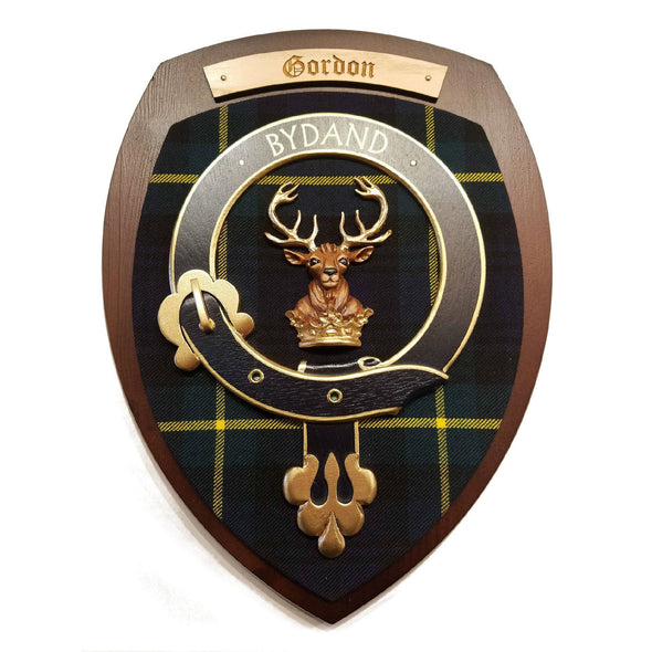wooden wall plaque with Gordon family crest & tartan