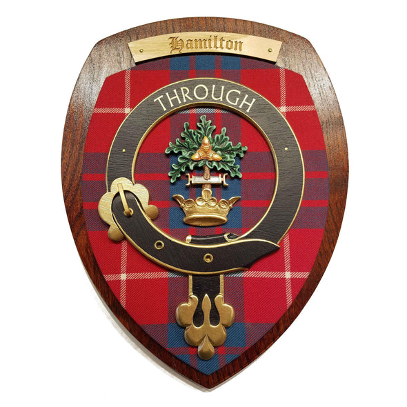 wooden wall plaque with Hamilton family crest & tartan