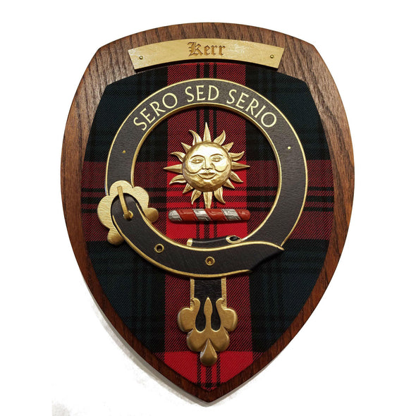 wooden wall plaque with Kerr family crest & tartan