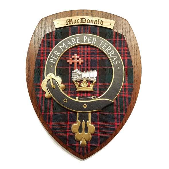 wooden wall plaque with MacDonald family crest & tartan