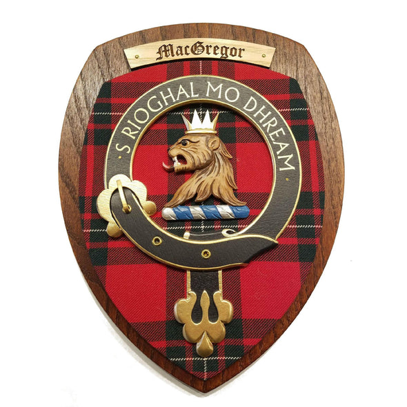 wooden wall plaque with MacGregor family crest & tartan