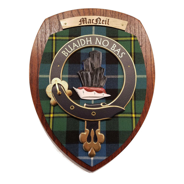 wooden wall plaque with MacNeil family crest & tartan