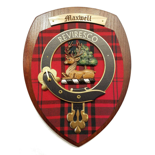 wooden wall plaque with Maxwell family crest & tartan