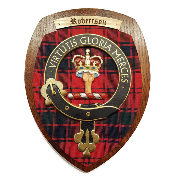 wooden wall plaque with Robertson family crest & tartan