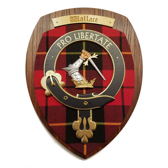 wooden wall plaque with Wallace family crest & tartan