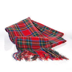 red wool tartan plaid sash, Royal Stewart tartan