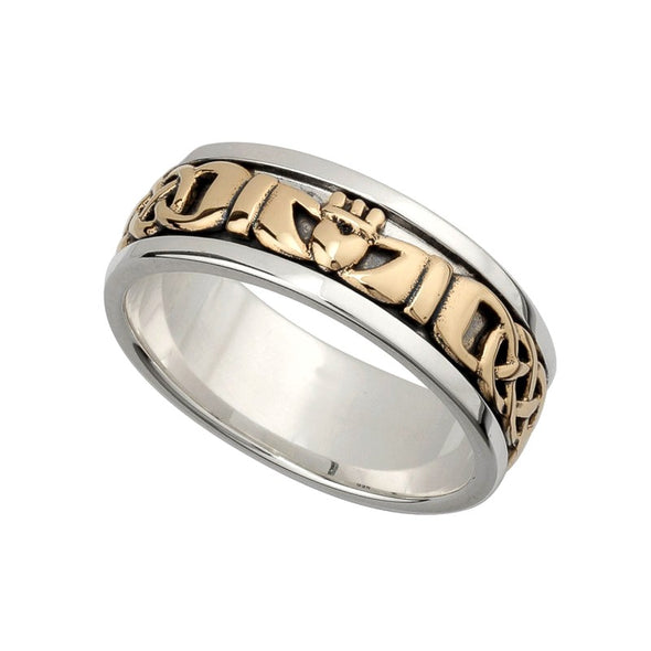 Men's Silver & Gold Claddagh Ring