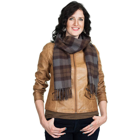 Outlander tartan scarf in wool, grey & brown