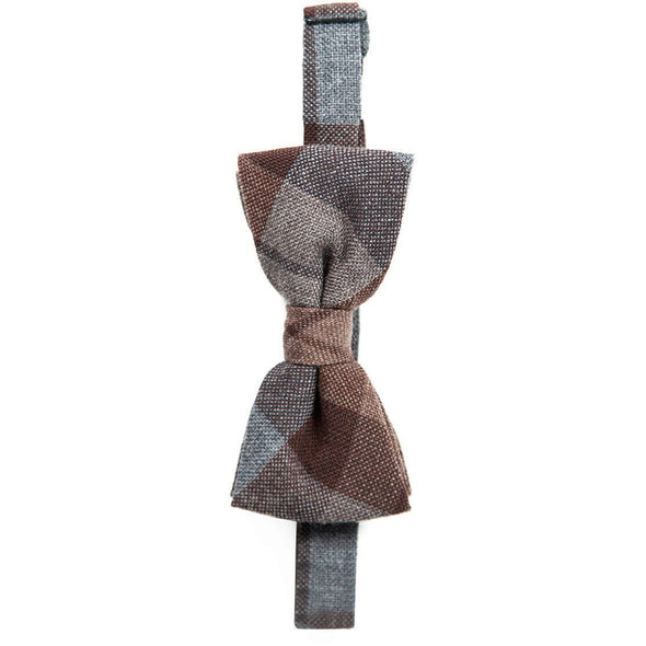 Outlander wool tartan plaid bow tie, grey & brown