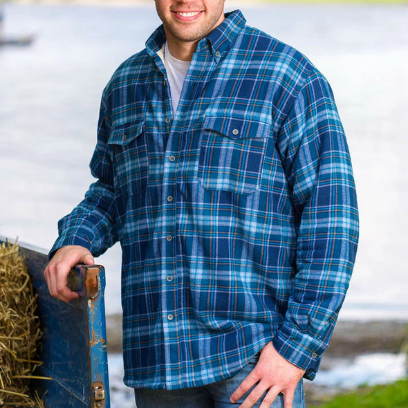 100% cotton sherpa-lined flannel shirt for men, blue plaid