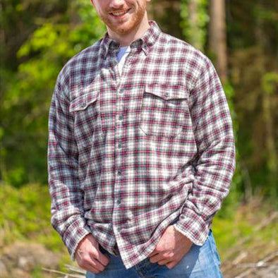 100% cotton sherpa-lined flannel shirt for men, 3 colors, light plaid