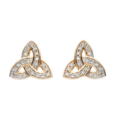 Gold & Diamond Trinity Knot Studded Earrings