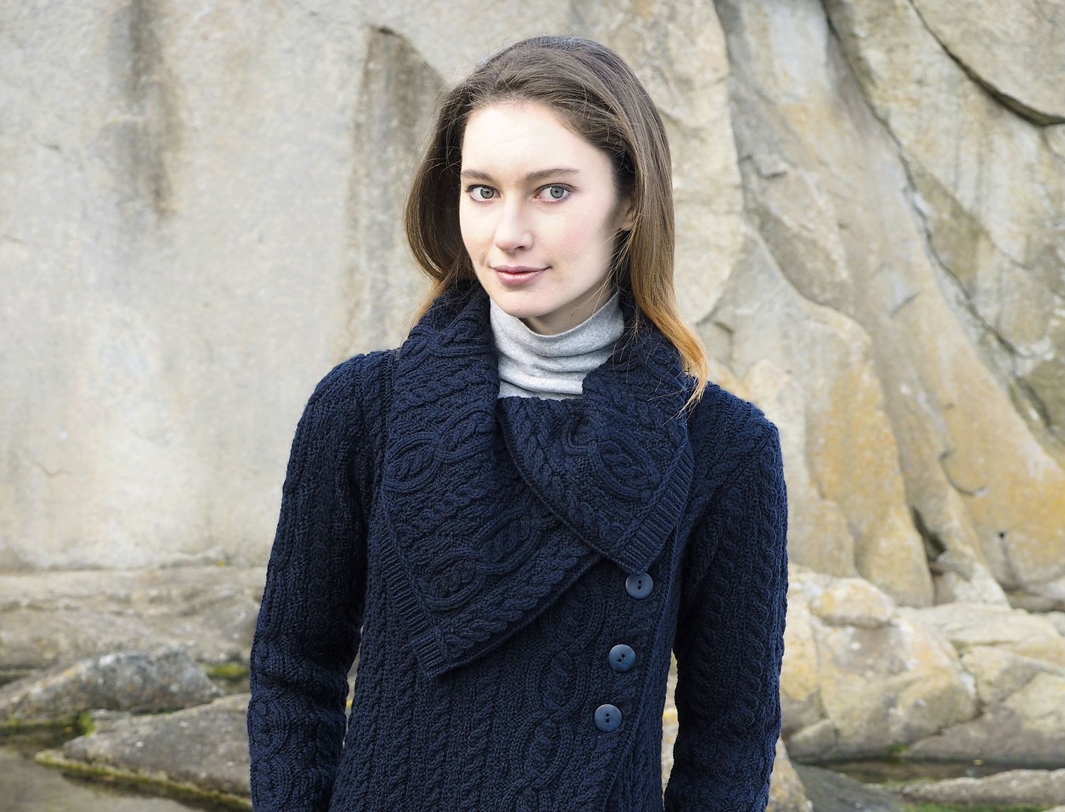 Woman in Blue Merino Wool Aran Cardigan Coat / Coatigan
