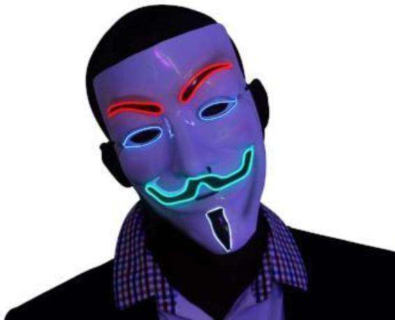 4 Multi Color V for Vendetta EL Wire LED Mask - Kandi Gear