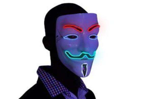 4 Multi Color V for Vendetta EL Wire LED Mask - Kandi