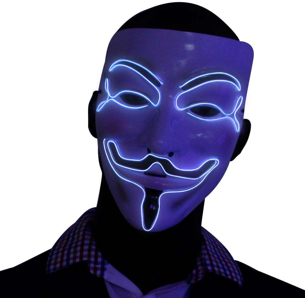 Silver V for Vendetta EL Wire LED Mask - Kandi Gear