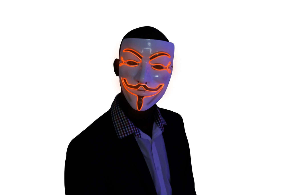 Orange V for Vendetta EL Wire LED Mask