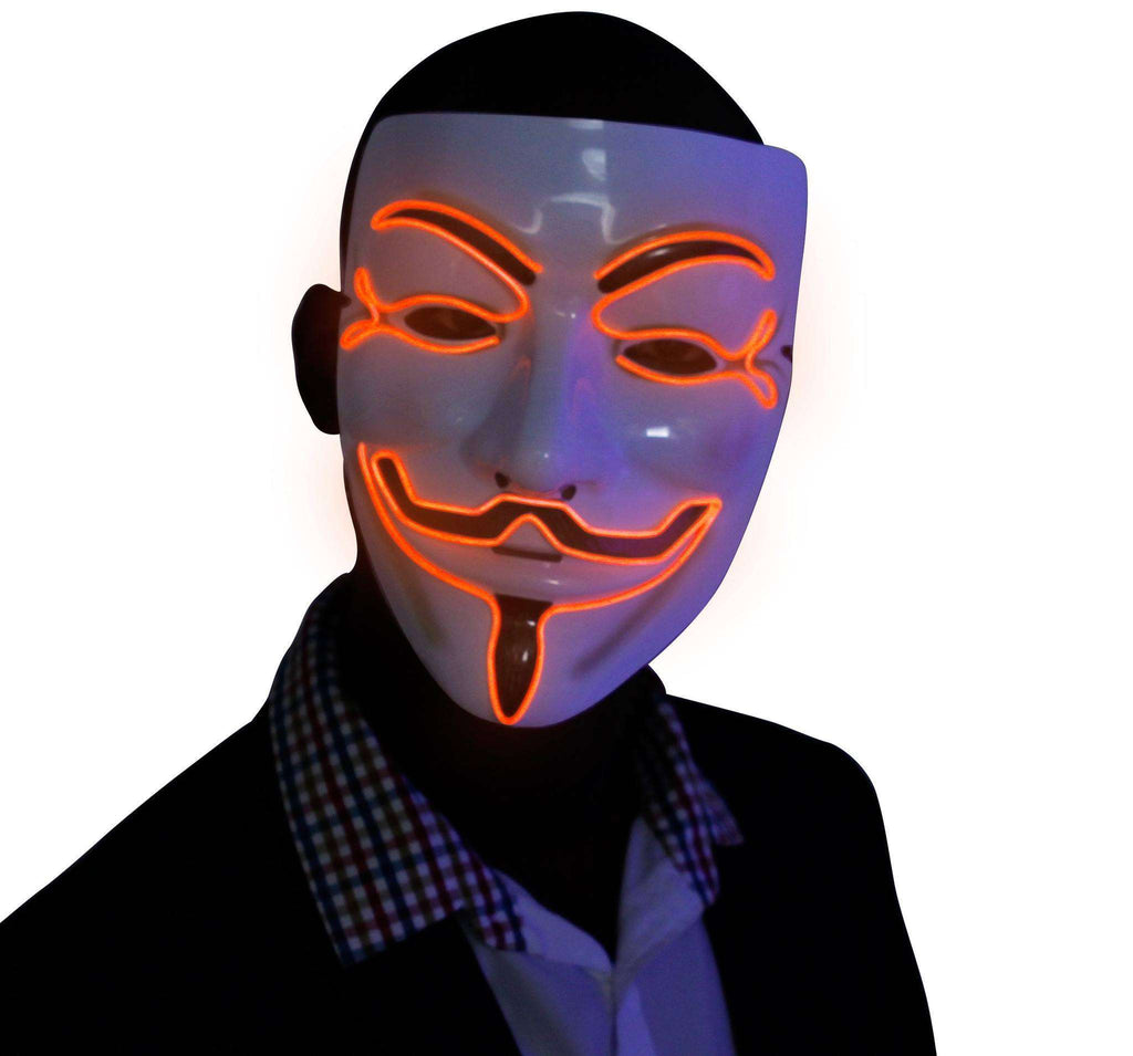 Orange V for Vendetta EL Wire LED Mask - Kandi Gear