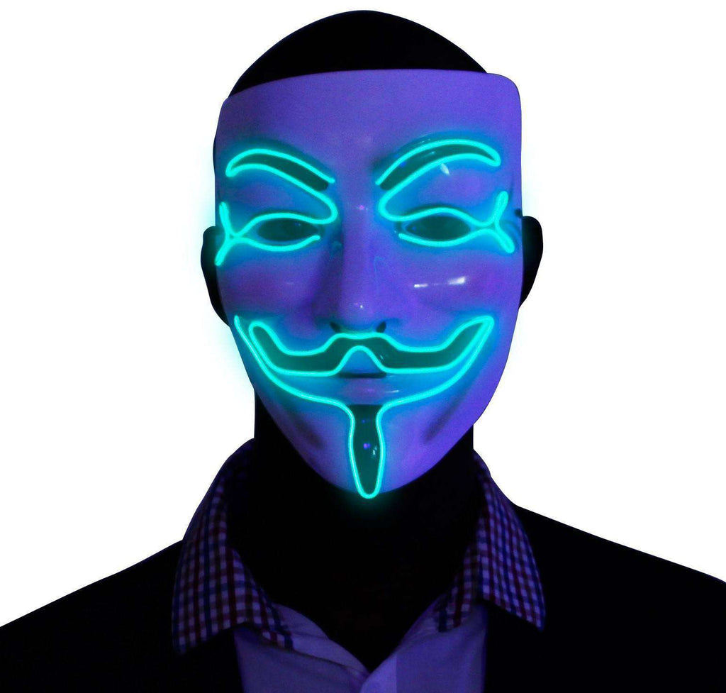 Green V for Vendetta EL Wire LED Mask - Kandi