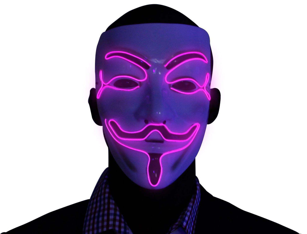 Pink V for Vendetta EL Wire LED Mask - Kandi Gear