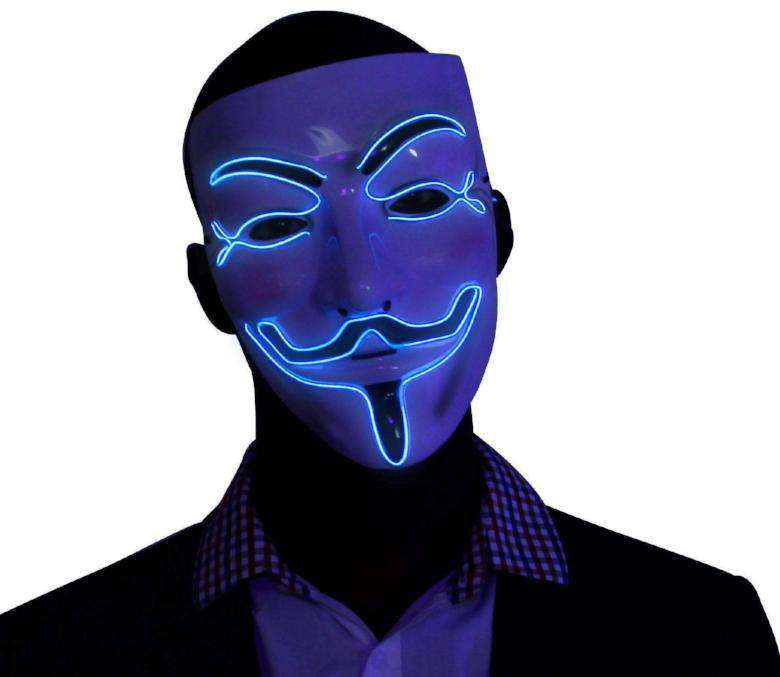 Blue V for Vendetta EL Wire LED Mask - Kandi Gear