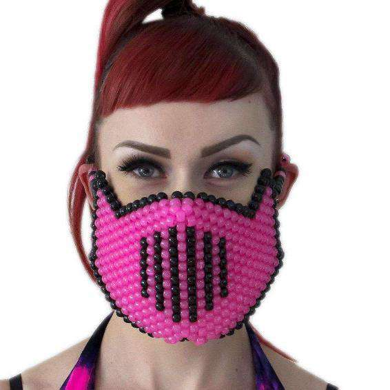 Glow In The Dark Pink Vented Ninja Kandi Mask From Mortal Kombat - Kandi