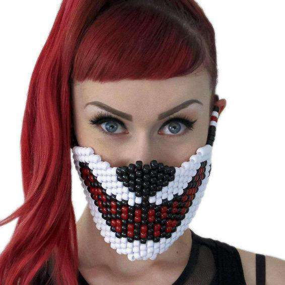 Big Bad White Wolf Red Teeth Full Sized Mask - Kandi Gear