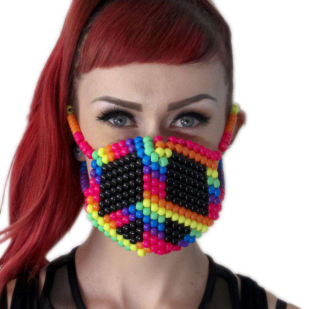 Rainbow Peace Sign Kandi Mask - Kandi Gear