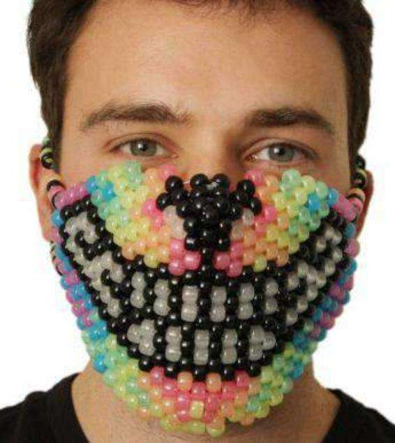 Glow in the Dark Rainbow Wolf Kandi Mask - Kandi Gear - 3