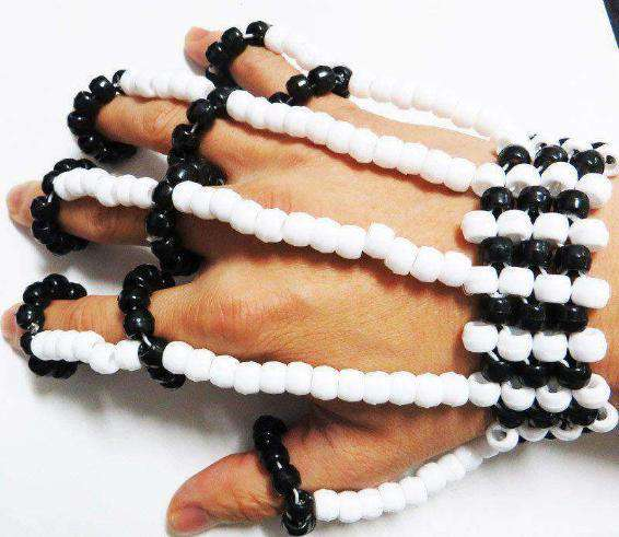 Black and White Kandi Fingerlets - Kandi