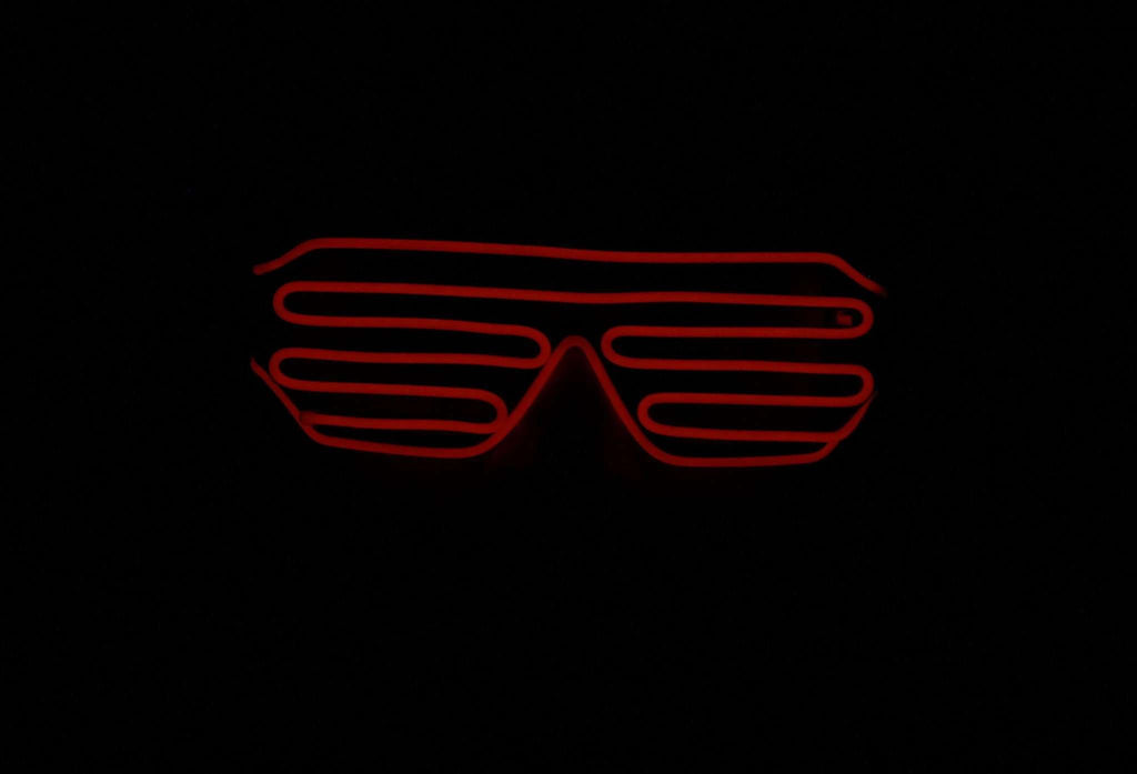 Red EL Wire Glow Shutter Shades Glasses - Kandi Gear