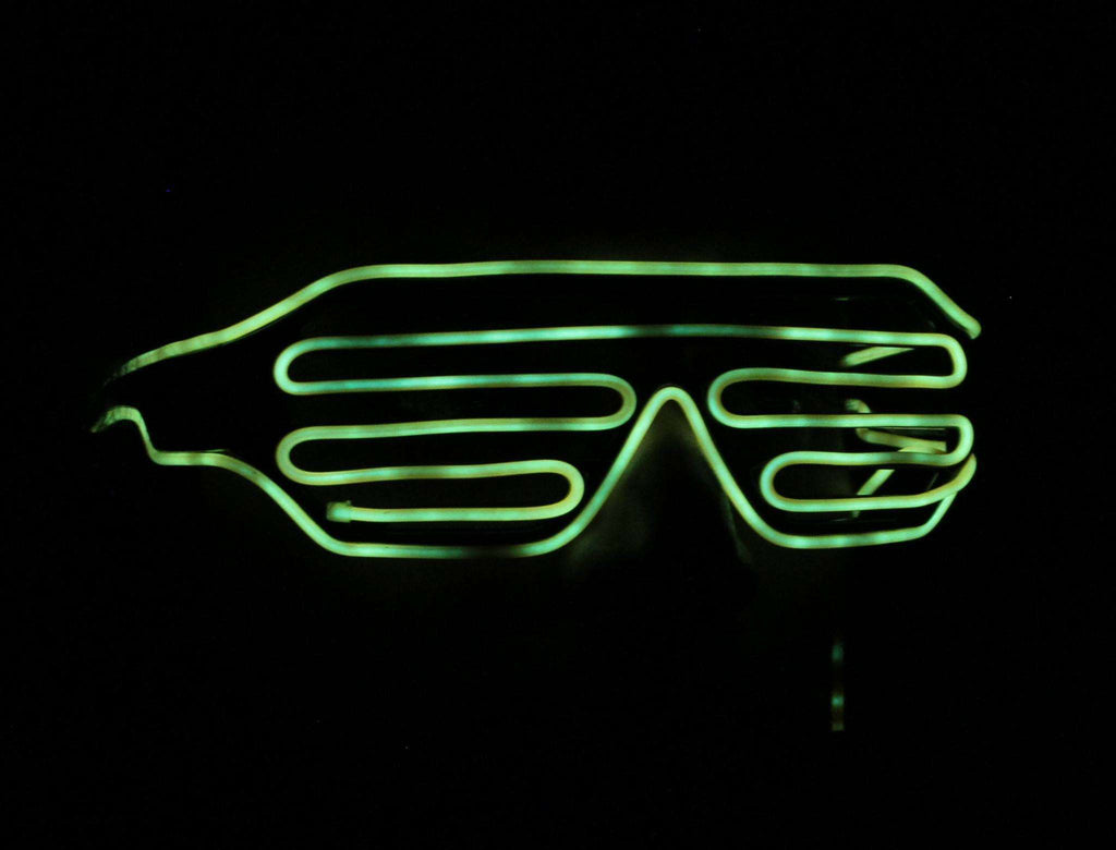 Yellow EL Wire Glow Shutter Shades Glasses - Kandi Gear