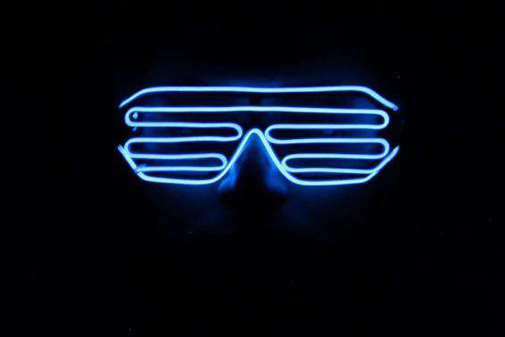 Blue EL Wire Glow LED Shutter Shades Glasses - Kandi Gear