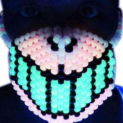 Glow in the Dark Rainbow Wolf Kandi Mask