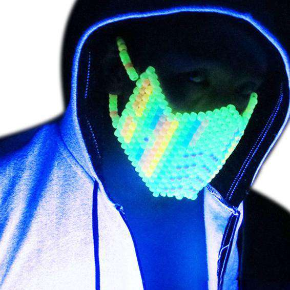 Glow in the Dark Rainbow Sub Zero Kandi Mask - Kandi Gear
