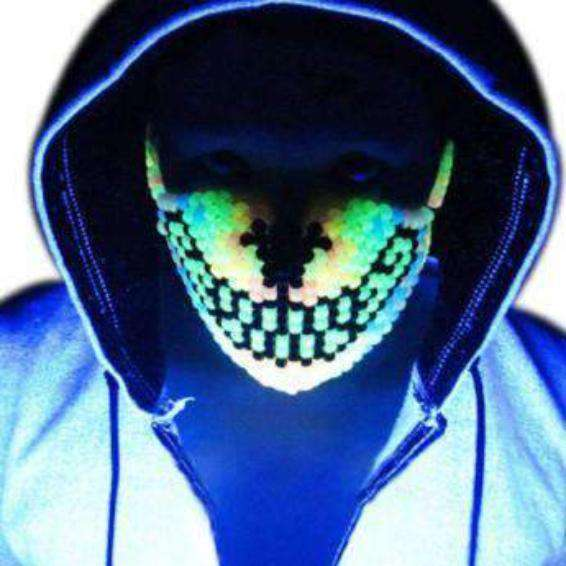 Glow in the Dark Rainbow Wolf Kandi Mask - Kandi Gear - 1