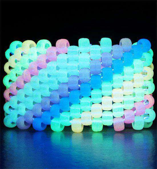 Glow in the Dark Diagonal Rainbow Kandi Cuff - Kandi Gear - 2