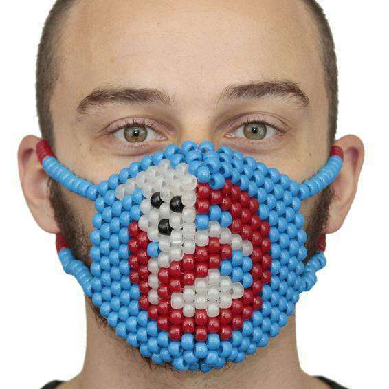Glow In The Dark Ghost Busters Kandi Mask Surgical - Kandi Gear