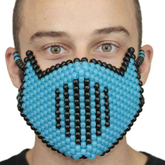 Glow In The Dark Blue Vented Ninja Full Kandi Mask - Kandi Gear
