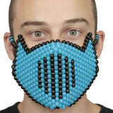 Glow In The Dark Blue Vented Ninja Full Kandi Mask