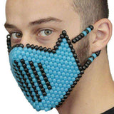 Glow In The Dark Blue Vented Ninja Full Kandi Mask - Kandi